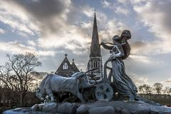 Gefion Fountain and St. Alban's Church at sunset. HDR-Photo, Copenhagen, February 23, 2018 Royalty Free Stock Photography