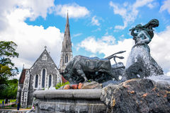 The Gefion Fountain and St. Alban`s Church, Copenhagen Denmark Stock Photography