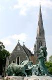 Gefionspringvandet  and Danish church (Copenhagen) Stock Image
