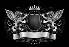 Geflügelte Löwen, die Schild-Dunkelheits-Emblem halten Lizenzfreie Stockbilder