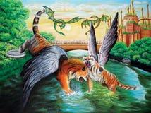 Geflügelte Tiger phantasie Schmieröl auf Segeltuch Schöne Abbildung lizenzfreie abbildung