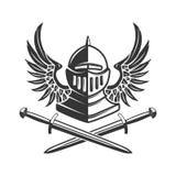 Geflügelter Rittersturzhelm mit gekreuzten Klingen Gestaltungselement für Plakat, Emblem, Zeichen, Fahne lizenzfreie abbildung