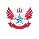 Geflügeltes Militär spielt das Emblem die Hauptrolle mit Kaiserkrone und luxu hergestellt wird stock abbildung