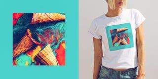 Gefälschter Eiscremehintergrund Modedesignfoto Stockfotos