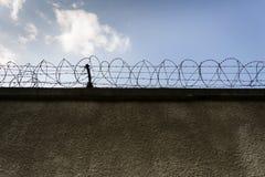 Gefängnismauerstacheldrahtzaun mit blauem Himmel im Hintergrund Stockbild