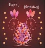 Geformte Glückwunschkarte des Blumenvase mit Süßigkeiten Stockfoto