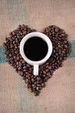 Geformte Kaffeebohnen des Inneren stockbilder