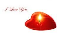 Geformte Kerze des Herzens mit Text Lizenzfreie Stockbilder