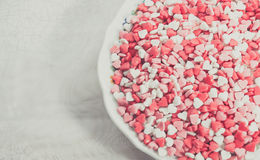 Geformte Krumen des Herzens Zucker Stockfotos