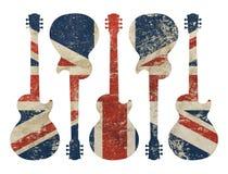 Geformte Schmutzweinlese der Gitarre BRITISCHE Großbritannien-Flagge Stockbild