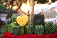 Geformte Wassermelone des gelben Herzens Stockbild