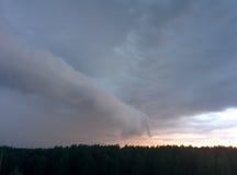Geformte Wolke des Fingers über dem Wald Lizenzfreie Stockfotografie
