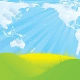 Geformte Wolken der Weltkarte Stockfotografie