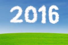 Geformte Zahlen 2016 der Wolke Stockfoto