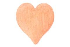 Geformte Zeichnung des Herzens auf weißem Hintergrund Stockfotografie
