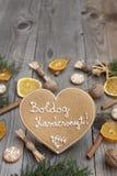 Geformter Lebkuchen des Herzens Weihnachts Stockfotografie