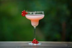 Geformtes Glas mit Cocktail der rosa Pampelmuse auf grünem Hintergrund bokeh Stockbild