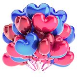 Geformtes rosarotes Blau des Herzballonbündel-Herzens vektor abbildung