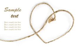 Geformtes Seil des Herzens auf Weiß Stockfoto