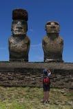 Gefotografeerde Moai Royalty-vrije Stock Afbeeldingen