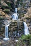 Gefotografeerde waterval in Kuhflucht met lange blootstelling Stock Fotografie