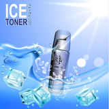 Gefrieren Sie den Toner, der in der Zufuhr der Flasche c auf dem Hintergrund von Wasser- und Eiswürfeln enthalten wird lizenzfreie abbildung