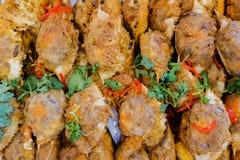 Gefrituurd krabvlees en fijngehakt varkensvlees stock fotografie