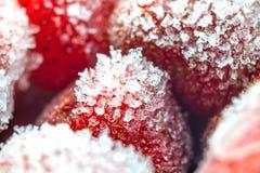 Gefrorene Erdbeerenahaufnahme lizenzfreie stockfotos