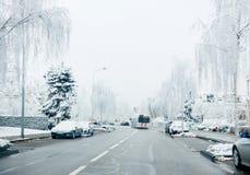 Gefrorene französische Stadt von Straßburg unter Schnee Stockfotos