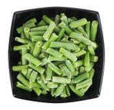Gefrorene grüne Bohnen in der Schüssel Lizenzfreie Stockbilder