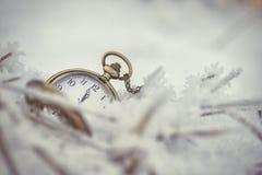 Gefrorene Koniferenniederlassungen mit Taschenuhr im weißen Winter, im Winter- und guten Rutsch ins Neue Jahr-Hintergrund Lizenzfreies Stockbild