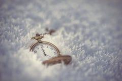Gefrorene Koniferenniederlassungen mit Taschenuhr im weißen Winter, im Winter- und guten Rutsch ins Neue Jahr-Hintergrund Stockfotos