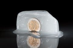 Gefrorene Münze des Euro zwei Lizenzfreie Stockfotografie