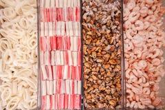 gefrorene Massenmeeresfrüchte stockbild