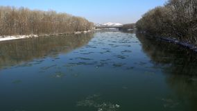 Gefrorene Platten des Eises schwimmend entlang den Fluss stock footage