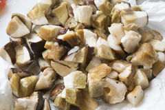 Gefrorene porcini Pilze Stockbild