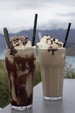 Gefrorene Schokolade und gefrorener Kaffee Stockbild