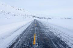 Gefrorene Straße, Norwegen Lizenzfreie Stockfotos