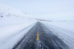 Gefrorene Straße, Norwegen Stockfotografie