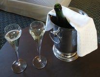 Gefrorene Wanne von Champagne Stockfoto