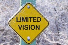 Gefrorene Zeichenwarnung der begrenzten Vision voran Stockfotos