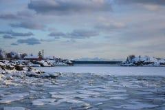 Gefrorenen Lofotens Landschaft Lizenzfreies Stockfoto