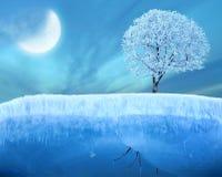 Gefrorener Baum auf Eis Stockfoto