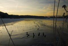 Gefrorener bayerischer See Stockfotos