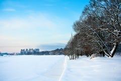 Gefrorener Fluss und schneebedeckte Bäume Stockfotos