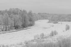 Gefrorener Fluss am Winter Stockfotografie