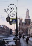 Gefrorener Fluss Winter-St Petersburg lizenzfreies stockfoto