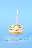 Gefrorener Geburtstagskleiner kuchen mit mit brennender Kerze Lizenzfreies Stockfoto