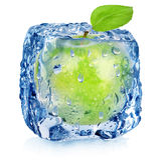 Gefrorener grüner Apfel lizenzfreies stockfoto