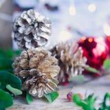 Gefrorener Hintergrund des Weihnachtsrotes Kegels Silber Lizenzfreies Stockbild